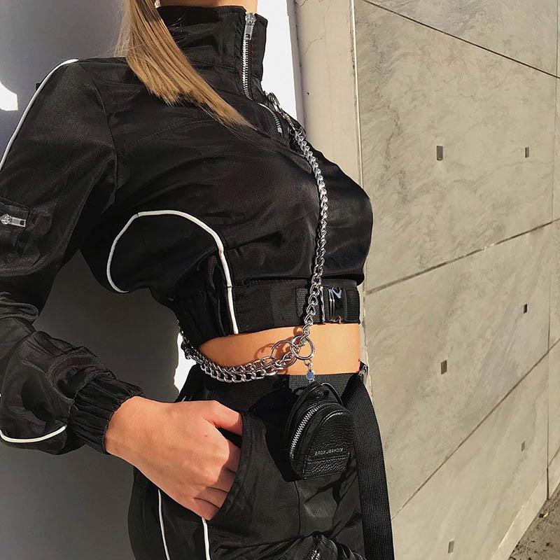 Custom Logo 2022 Black Plastic Buckle Women Blazer Long Sleeve Female Casual Pullover Coats Ladies Outerwear Crop Tops1